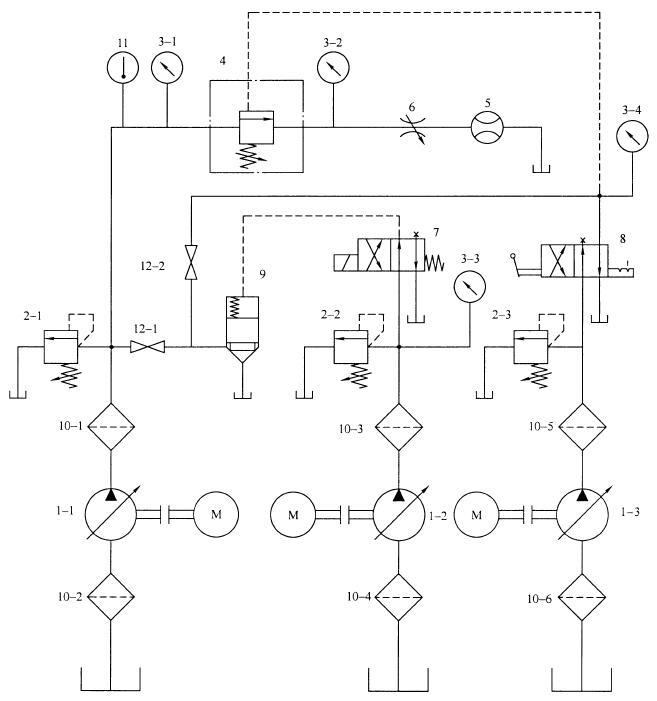 液压顺序阀型式试验回路原理图